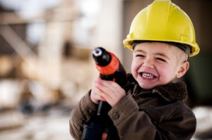 child in construction hat